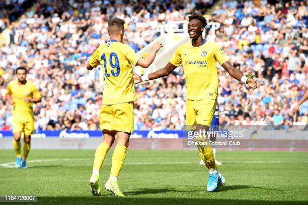 Mason Mount of Chelsea celebrates after scoring his team's third goal with Tammy Abraham of Chelsea during the PreSeason Friendly match between...