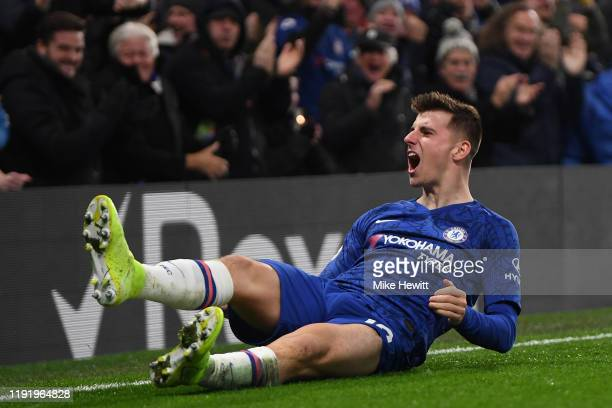 Mason Mount of Chelsea celebrates after scoring the winner during the Premier League match between Chelsea FC and Aston Villa at Stamford Bridge on...