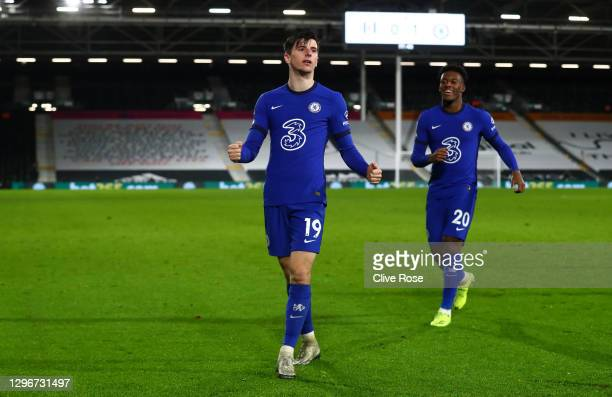 Mason Mount of Chelsea celebrates after scoring their side's first goal during the Premier League match between Fulham and Chelsea at Craven Cottage...