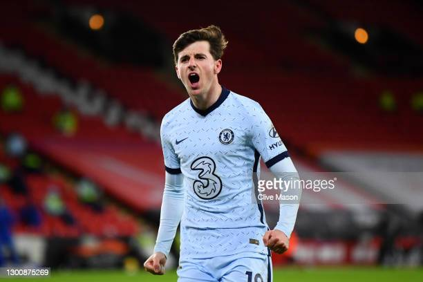 Mason Mount of Chelsea celebrates after scoring their side's first goal during the Premier League match between Sheffield United and Chelsea at...