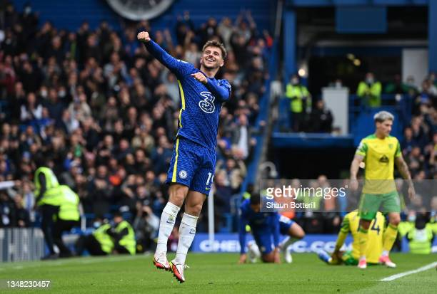 Mason Mount of Chelsea celebrates after scoring their side's seventh goal and his hat-trick during the Premier League match between Chelsea and...