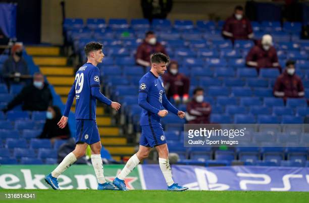 Mason Mount of Chelsea celebrates after scoring their team's second goal during the UEFA Champions League Semi Final Second Leg match between Chelsea...