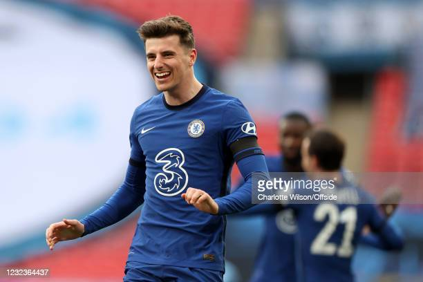 Mason Mount of Chelsea celebrates during the Semi Final of the Emirates FA Cup match between Manchester City and Chelsea FC at Wembley Stadium on...