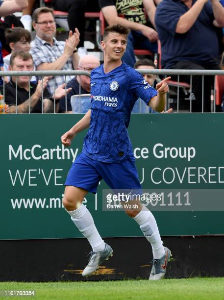 Mason Mount of Chelsea celebrates scoring his sides first goal during the PreSeason Friendly match between St Patrick's Athletic FC and Chelsea FC at...