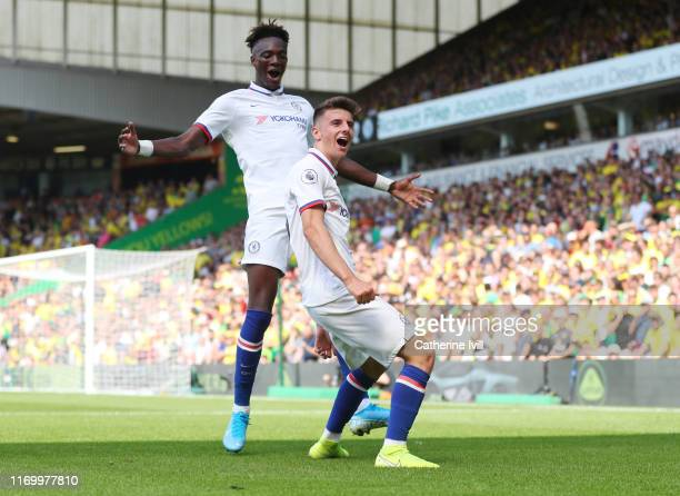 Mason Mount of Chelsea celebrates scoring his teams second goal with Tammy Abraham during the Premier League match between Norwich City and Chelsea...
