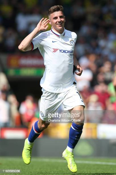 Mason Mount of Chelsea celebrates scoring their 2nd goal during the Premier League match between Norwich City and Chelsea FC at Carrow Road on August...