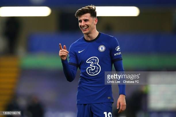 Mason Mount of Chelsea celebrates victory after the Premier League match between Chelsea and Everton at Stamford Bridge on March 08, 2021 in London,...
