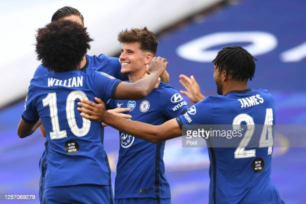 Mason Mount of Chelsea celebrates with his team after scoring his teams second goal during the FA Cup Semi Final match between Manchester United and...