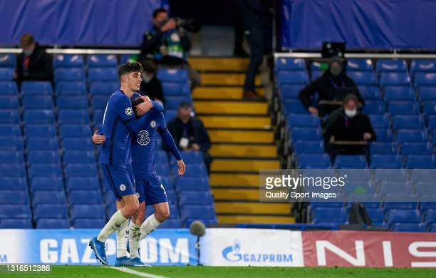 Mason Mount of Chelsea celebrates with teammate Kai Havertz after scoring their team's second goal during the UEFA Champions League Semi Final Second...
