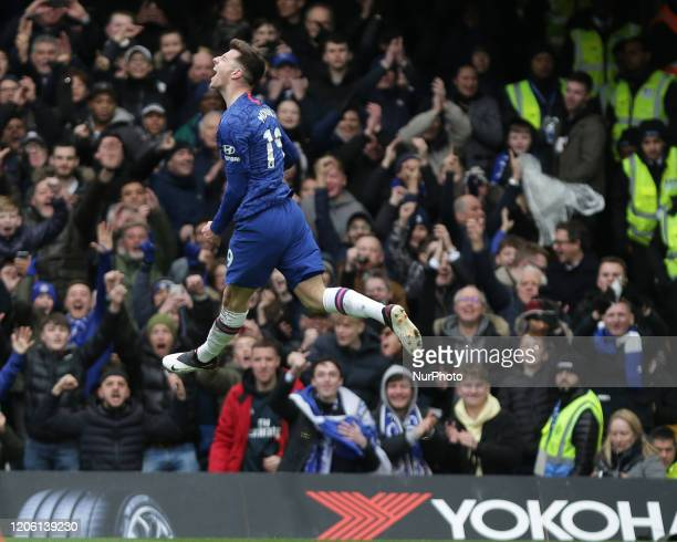 Mason Mount of Chelsea celebrating his teams first goal during the Premier League match between Chelsea and Everton at Stamford Bridge, London on...