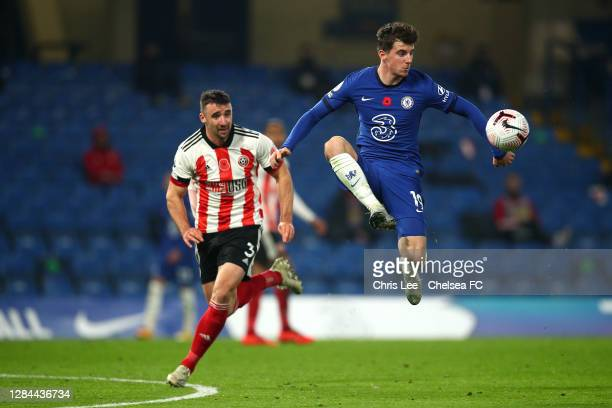 Mason Mount of Chelsea controls the ball during the Premier League match between Chelsea and Sheffield United at Stamford Bridge on November 07, 2020...