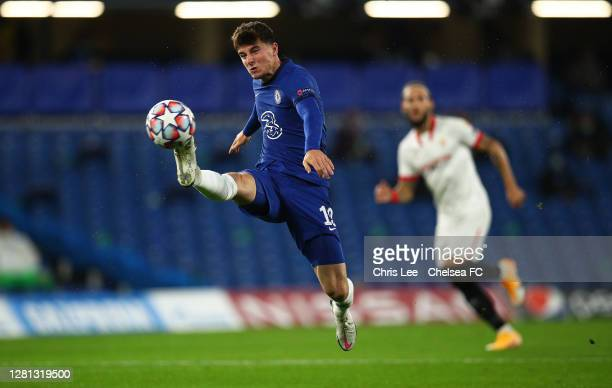 Mason Mount of Chelsea controls the ball during the UEFA Champions League Group E stage match between Chelsea FC and FC Sevilla at Stamford Bridge on...