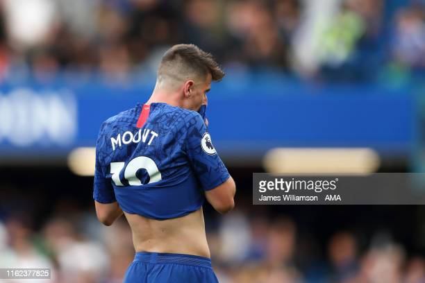 Mason Mount of Chelsea dejected at full time of the Premier League match between Chelsea FC and Leicester City at Stamford Bridge on August 18 2019...