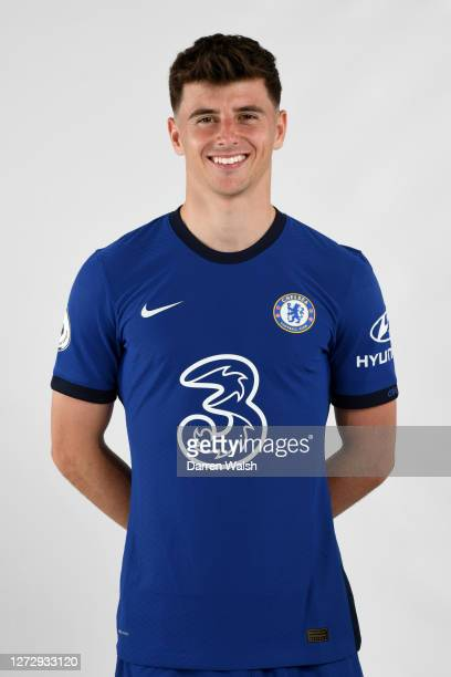 Mason Mount of Chelsea during a Chelsea Media Day at Chelsea Training Ground on September 11, 2020 in Cobham, England.