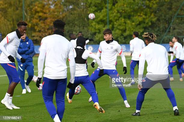 Mason Mount of Chelsea during a training session ahead of the UEFA Champions League Group E stage match between Chelsea FC and FC Sevilla at Chelsea...