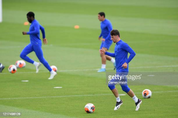 Mason Mount of Chelsea during a training session at Chelsea Training Ground on June 4, 2020 in Cobham, England.