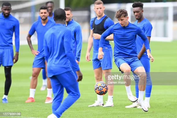 Mason Mount of Chelsea during a training session at Chelsea Training Ground on August 6 2020 in Cobham England