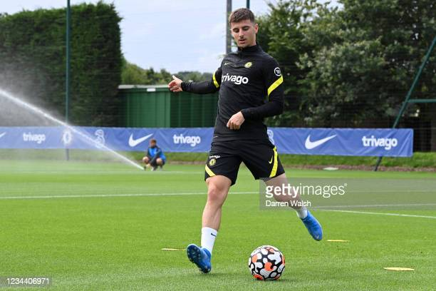 Mason Mount of Chelsea during a training session at Chelsea Training Ground on August 2, 2021 in Cobham, England.