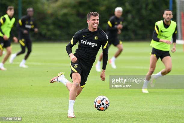 Mason Mount of Chelsea during a training session at Chelsea Training Ground on August 6, 2021 in Cobham, England.