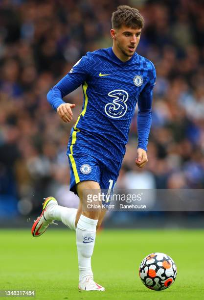Mason Mount of Chelsea FC controls the ball during the Premier League match between Chelsea and Norwich City at Stamford Bridge on October 23, 2021...