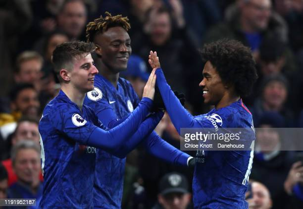 Mason Mount of Chelsea FC FC celebrates scoring his teams second goal during the Premier League match between Chelsea FC and Aston Villa at Stamford...