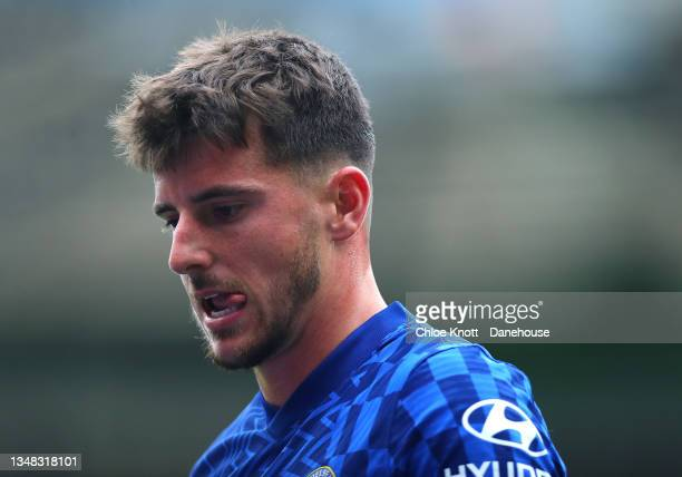 Mason Mount of Chelsea FC looks on during the Premier League match between Chelsea and Norwich City at Stamford Bridge on October 23, 2021 in London,...