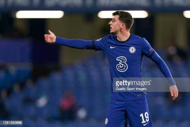 Mason Mount of Chelsea FC looks on during the UEFA Champions League Group E stage match between Chelsea FC and Sevilla FC at Stamford Bridge on...