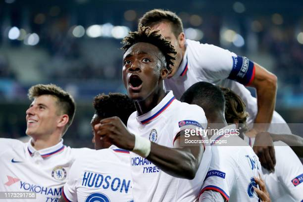 Mason Mount of Chelsea FC Tammy Abraham of Chelsea FC celebrate 12 during the UEFA Champions League match between Lille v Chelsea at the Stade Pierre...