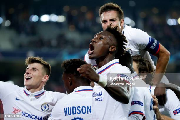 Mason Mount of Chelsea FC Tammy Abraham of Chelsea FC Cesar Azpilicueta of Chelsea FC celebrate 12 during the UEFA Champions League match between...
