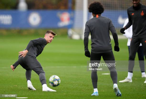 Mason Mount of Chelsea in action during a training session ahead of their UEFA Champions League Group H match against Ajax at Chelsea Training Ground...