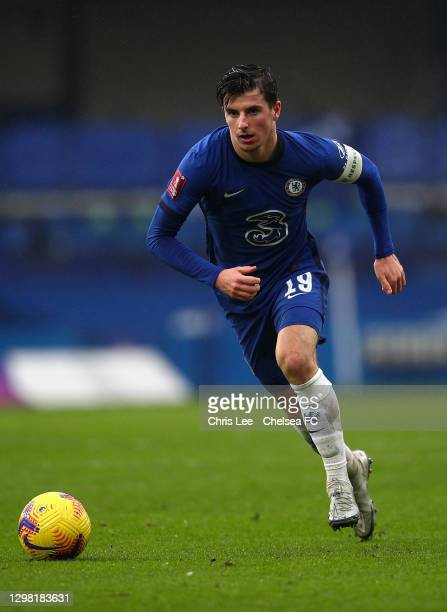 Mason Mount of Chelsea in action during The Emirates FA Cup Fourth Round match between Chelsea and Luton Town at Stamford Bridge on January 24, 2021...