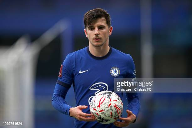 Mason Mount of Chelsea in action during the FA Cup Third Round match between Chelsea and Morecambe at Stamford Bridge on January 10, 2021 in London,...