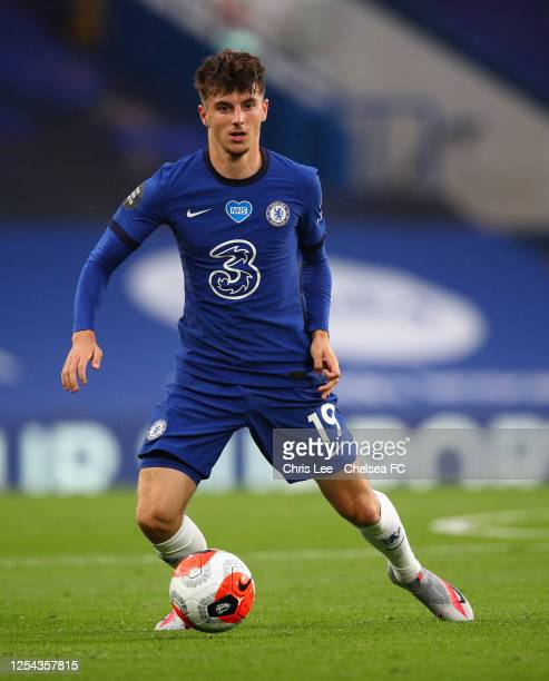 Mason Mount of Chelsea in action during the Premier League match between Chelsea FC and Watford FC at Stamford Bridge on July 04 2020 in London...