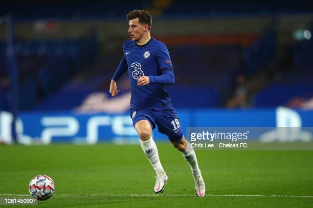 Mason Mount of Chelsea in action during the UEFA Champions League Group E stage match between Chelsea FC and FC Sevilla at Stamford Bridge on October...