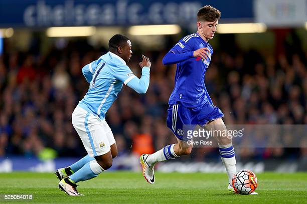 Mason Mount of Chelsea is challenged by Aaron Nemane of Manchester City during the FA Youth Cup Final Second Leg between Chelsea and Manchester City...