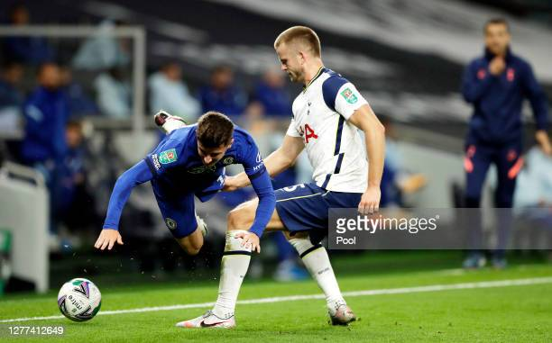 Mason Mount of Chelsea is challenged by Eric Dier of Tottenham Hotspur during the Carabao Cup fourth round match between Tottenham Hotspur and...