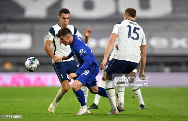 Mason Mount of Chelsea is challenged by Sergio Reguilon of Tottenham Hotspur and Eric Dier of Tottenham Hotspur during the Carabao Cup fourth round...