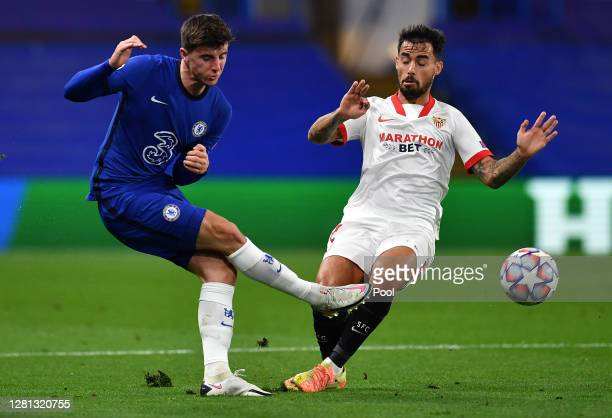 Mason Mount of Chelsea is challenged by Suso of Sevilla during the UEFA Champions League Group E stage match between Chelsea FC and FC Sevilla at...