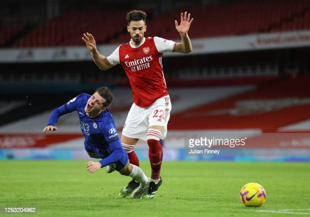 Mason Mount of Chelsea is fouled by Pablo Mari of Arsenal, leading to Chelsea being awarded a penalty during the Premier League match between Arsenal...