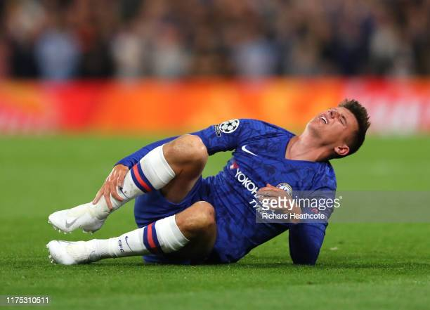 Mason Mount of Chelsea is injured during the UEFA Champions League group H match between Chelsea FC and Valencia CF at Stamford Bridge on September...