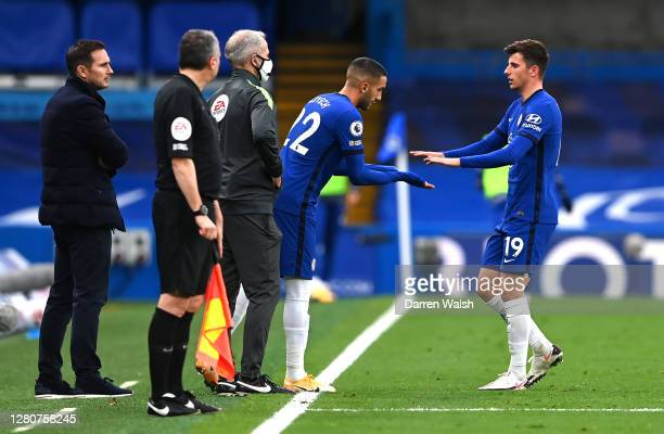 Mason Mount of Chelsea is replaced by Hakim Ziyech of Chelsea during the Premier League match between Chelsea and Southampton at Stamford Bridge on...