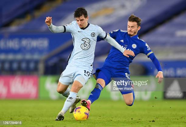 Mason Mount of Chelsea is tackled by James Maddison of Leicester City during the Premier League match between Leicester City and Chelsea at The King...