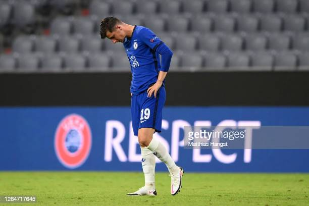 Mason Mount of Chelsea reacts after his teams defeat during the UEFA Champions League round of 16 second leg match between FC Bayern Muenchen and...