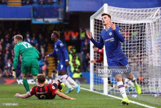 Mason Mount of Chelsea reacts after missing a chance during the Premier League match between Chelsea FC and AFC Bournemouth at Stamford Bridge on...
