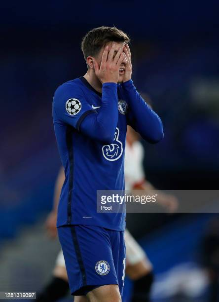Mason Mount of Chelsea reacts during the UEFA Champions League Group E stage match between Chelsea FC and FC Sevilla at Stamford Bridge on October 20...