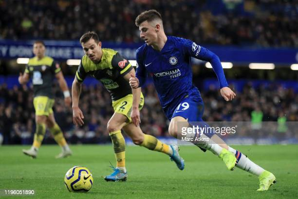 Mason Mount of Chelsea runs with the ball during the Premier League match between Chelsea FC and Southampton FC at Stamford Bridge on December 26...