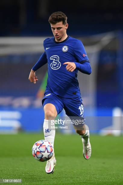 Mason Mount of Chelsea runs with the ball during the UEFA Champions League Group E stage match between Chelsea FC and FC Sevilla at Stamford Bridge...
