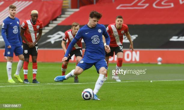 Mason Mount of Chelsea scores a penalty for his team's first goal during the Premier League match between Southampton and Chelsea at St Mary's...