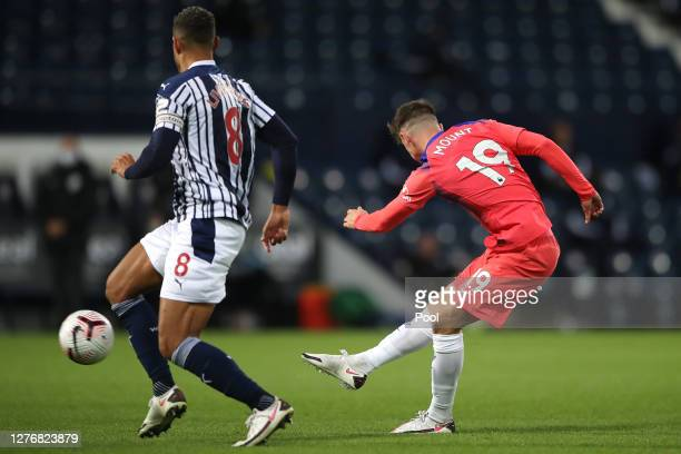 Mason Mount of Chelsea scores his sides first goal during the Premier League match between West Bromwich Albion and Chelsea at The Hawthorns on...