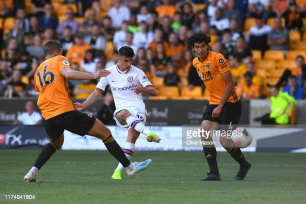 Mason Mount of Chelsea scores his team's fifth goal during the Premier League match between Wolverhampton Wanderers and Chelsea FC at Molineux on...